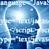 Javascript. Bits and bytes on a blue background Stock Photography