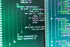 Javascript code in bracket software. Future technology creation royalty free stock images