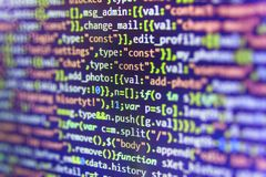 Javascript code in bracket software. stock photos