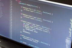 Javascript code. Computer programming source code. Abstract screen of web developer. Digital technology modern background. Shallow Royalty Free Stock Photo