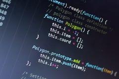 Javascript code. Computer programming source code. Abstract screen of web developer. Digital technology modern background. Shallow Stock Photos