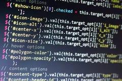 Javascript code. Computer programming source code. Abstract screen of web developer. Digital technology modern background. Shallow Stock Image