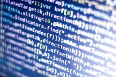Javascript code. Computer programming source code. Abstract screen of web developer with glowing code. Stock Images