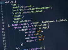 Javascript code on computer screen. Code syntax on a computer screen Stock Photos