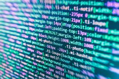 JavaScript code in text editor. Coding cyberspace concept. Admin screen stock illustration