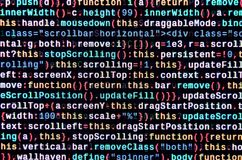JavaScript code in text editor. Coding cyberspace concept. Screen of web developing code. JavaScript code in text editor. Coding cyberspace concept. Screen of stock photography