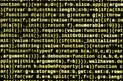 JavaScript code in text editor. Coding cyberspace concept. Screen of web developing code. JavaScript code in text editor. Coding cyberspace concept. Screen of royalty free stock images