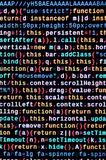 JavaScript code in text editor. Coding cyberspace concept. Screen of web developing code. JavaScript code in text editor. Coding cyberspace concept. Screen of royalty free stock image