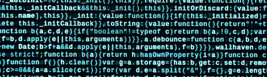 JavaScript code in text editor. Coding cyberspace concept. Screen of web developing code. JavaScript code in text editor. Coding cyberspace concept. Screen of stock image