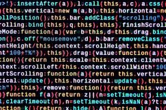 JavaScript code in text editor. Coding cyberspace concept. Screen of web developing code. JavaScript code in text editor. Coding cyberspace concept. Screen of royalty free stock photography
