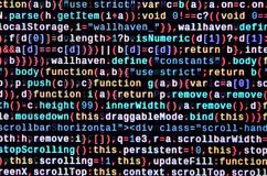 JavaScript code in text editor. Coding cyberspace concept. Screen of web developing code. JavaScript code in text editor. Coding cyberspace concept. Screen of stock photo