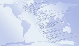 JavaScript Code for WWW. Map of the world as background for a piece of Javascript code - the most commonly used language on websites Stock Image