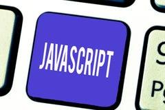 Javascript do texto da escrita da palavra Conceito do negócio para a língua da programação informática usada para criar efeitos i imagem de stock royalty free
