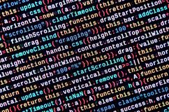 Javascript functions, variables, objects. Monitor closeup of function source code. IT specialist workplace. Big data and Internet of things trend. HTML website royalty free stock photos