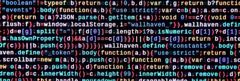 Javascript functions, variables, objects. Monitor closeup of function source code. IT specialist workplace. Big data and Internet of things trend. HTML website royalty free stock photo