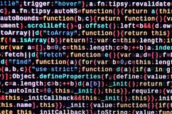 Javascript functions, variables, objects. Monitor closeup of function source code. IT specialist workplace. Big data and Internet of things trend. HTML website royalty free stock images