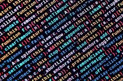 Javascript functions, variables, objects. Monitor closeup of function source code. IT specialist workplace. Big data and Internet of things trend. HTML website stock photos