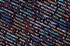 Javascript functions, variables, objects. Monitor closeup of function source code. IT specialist workplace
