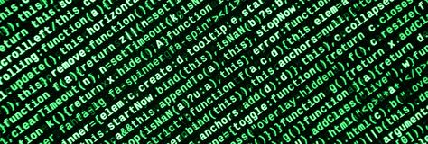 Javascript functions, variables, objects. Monitor closeup of function source code. IT specialist workplace. Big data and Internet of things trend. HTML website stock image