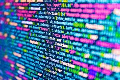 Javascript functions, variables, objects. Programming code abstract technology background of software developer and Computer