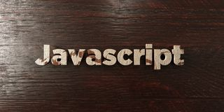 Javascript - grungy wooden headline on Maple - 3D rendered royalty free stock image. This image can be used for an online website banner ad or a print postcard royalty free illustration