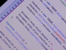Javascript im Herausgeber Stockfoto