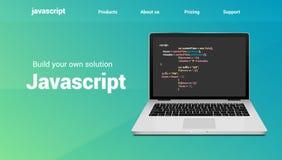 Javascript programming code technology banner. Javascript language software coding development website design royalty free illustration