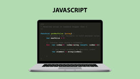 Javascript programming language illustration with laptop and java script code Stock Photo