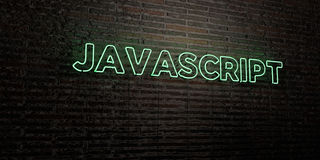 JAVASCRIPT -Realistic Neon Sign on Brick Wall background - 3D rendered royalty free stock image Royalty Free Stock Images