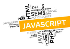 JAVASCRIPT word cloud, tag cloud, vector graphic Stock Images