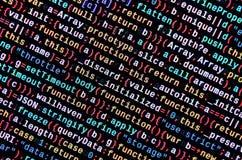 JavaScripta kod w teksta redaktorze Cyfrowanie cyberprzestrzeni pojęcie Ekran sieć rozwija kod obrazy stock