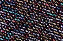 Javascriptfunktionen, Variablen, Gegenstände Überwachen Sie Nahaufnahme des Funktionsquellcodes IT-Fachmann-Arbeitsplatz lizenzfreies stockbild