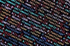 Javascriptfunktionen, Variablen, Gegenstände Überwachen Sie Nahaufnahme des Funktionsquellcodes IT-Fachmann-Arbeitsplatz stockbilder