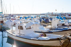 Javea in alicante fisherboats in Mediterranean sea Stock Photo