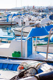 Javea in alicante fisherboats in Mediterranean sea Royalty Free Stock Image