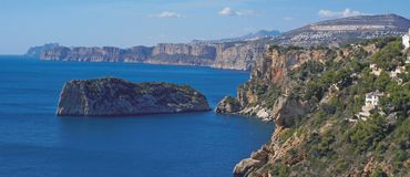 Javea Coast. A view of the rugid Coast of Javea Stock Images