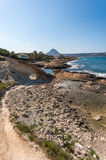 Javea coast and Montgo mountain view from Cala Blanca Royalty Free Stock Photography