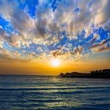 Javea El阿雷纳尔海滩日出地中海西班牙 免版税库存照片