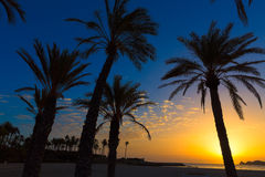 Javea El Arenal beach sunrise Mediterranean Spain Royalty Free Stock Images