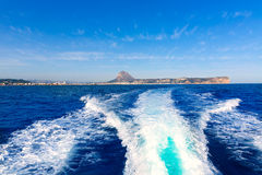 Javea with mongo and san antonio cape from boat Stock Photos