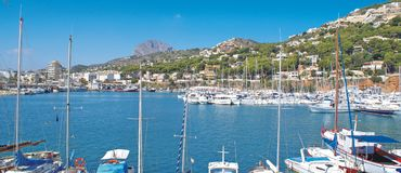 Javea Port. A view of the Port of Javea Stock Photography