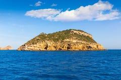 Javea Portichol Xabia Portixol island in Alicante Spain. Javea Portichol Xabia Portixol island in Alicante at Mediterranean Spain Royalty Free Stock Image