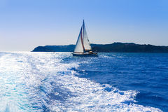 Javea sailboat sailing in Mediterranean Alicante Spain Stock Photography