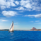 Javea sailboat sailing in Mediterranean Alicante Spain Royalty Free Stock Images