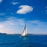 Javea sailboat sailing in Mediterranean Alicante Spain Royalty Free Stock Photos