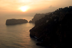 Javea sunset. Sunset on the coast of Javea, Costa Blanca, Spain royalty free stock photo