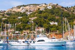 Javea Xabia口岸小游艇船坞假期目的地在阿利坎特 免版税图库摄影