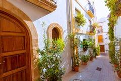 Javea Xabia老镇街道在阿利坎特西班牙 免版税库存图片