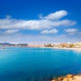 Javea Xabia从口岸的地平线视图在阿利坎特西班牙 库存照片