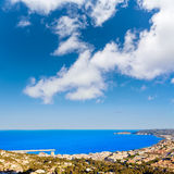Javea Xabia aerial skyline with port in Alicante Royalty Free Stock Photos